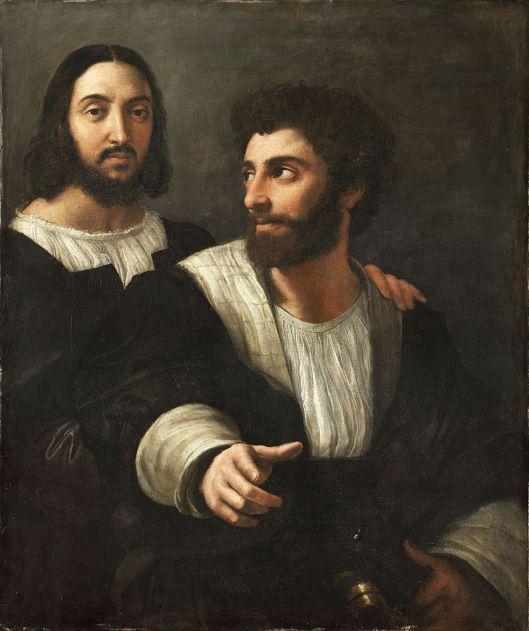 858px-Portrait_de_l'artiste_avec_un_ami,_by_Raffaello_Sanzio,_from_C2RMF_retouched